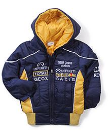 Babyhug Hooded Jacket - Navy And Yellow