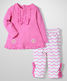 Wonderchild Full Sleeves Top And Legging - Pink And White