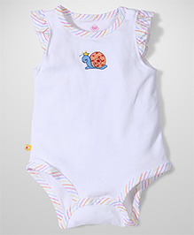 Childhood Flutter Sleeves Onesies Snail Embroidery - White