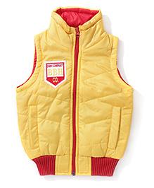 Babyhug Sleeveless Jacket With Badge - Yellow