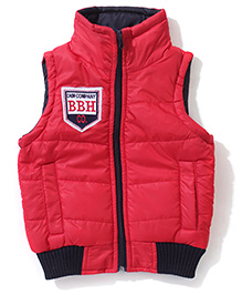 Babyhug Sleeveless Jacket With Badge - Red