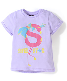 Hallo Heidi Half Sleeves T-Shirt Super Star Print - Purple
