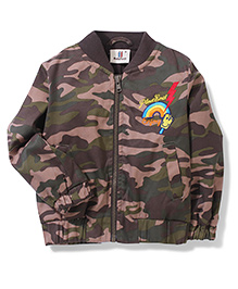 Hallo Heidi Full Sleeves Jacket Camouflage Print - Brown N Green