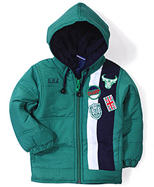 Babyhug Hooded Jacket Patch Design - Green