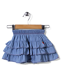 Hallo Heidi Tiered Skirt - Blue