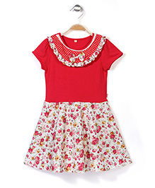 De Berry Short Sleeves Frock Floral Print - Red