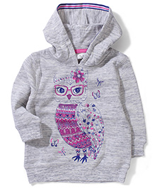 Pumpkin Patch Hooded Sweatshirt Owl Print - Grey