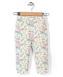 Hallo Heidi Pull Up Pant Floral Print - Lemon Yellow Grey