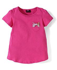 Hallo Heidi Half Sleeves Bow Detail T-Shirt - Pink
