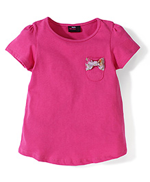 Hallo Heidi Half Sleeves Bow Detail T-Shirt - Pink