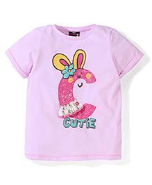 Hallo Heidi Half Sleeves T-Shirt Cutie Print - Pink
