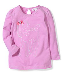 Pumpkin Patch Full Sleeves Top Horse Print - Pink