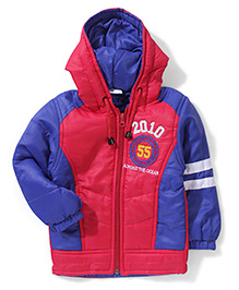 Babyhug Dual Colour Hooded Jacket - Red And Royal Blue