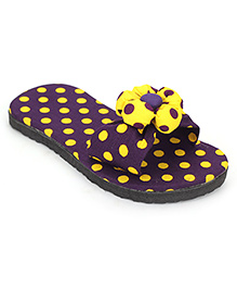 Dotted Slippers With Flower - Navy