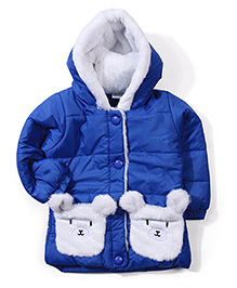 Babyhug Teddy Applique Hooded Jacket - Blue