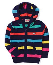 Vitamins Hooded Zipper Sweater - Navy Blue