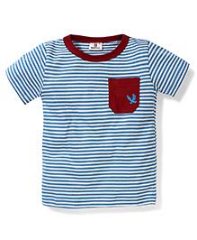 Hallo Heidi Half Sleeves One Pocket T-Shirt - Blue And White