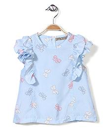 Jolly Jilla Short Sleeves Top Bow Print - Sky Blue
