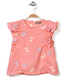 Jolly Jilla Short Sleeves Top Bow Print - Peach