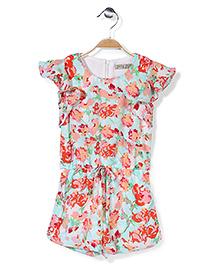 Jolly Jilla Short Sleeves Jumpsuit Floral - Light Blue
