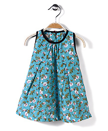 Jolly Jilla Flower Print Dress - Aqua Blue