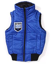 Babyhug Sleeveless Jacket With Badge - Royal Blue