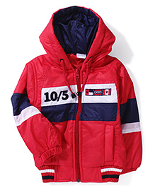 Babyhug Hooded Jacket BBH Patch - Red