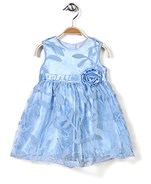 Bebe Wardrobe Sleeveless Party Frock Leaf Design And Rosette - Sky Blue