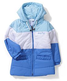 Babyhug Hooded Jacket - Sky Blue White Blue