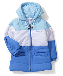 Babyhug Hooded Jacket - Sky Blue White Blue