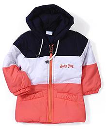 Babyhug Hooded Jacket - Peach White Navy