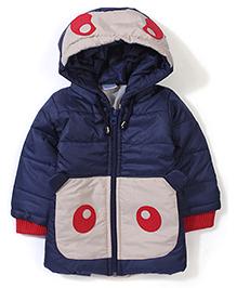 Babyhug Panda Face Hooded Jacket - Navy