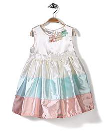 Bebe Wardrobe Sleeveless Dress Floral Applique - Cream And Aqua