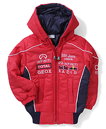 Babyhug Patch Design Hooded Jacket  - Red