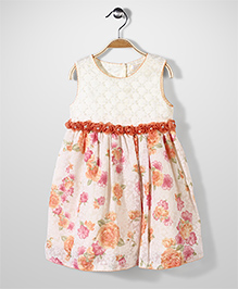 Bebe Wardrobe Sleeveless Party Dress Floral - Cream