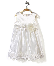 Bebe Wardrobe Sleeveless Party Frock Floral Motif N Lace - Cream