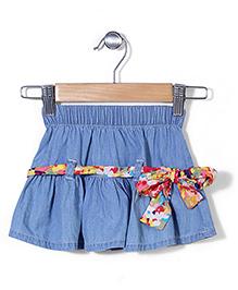 Hallo Heidi Ruffle Short Skirt - Light Blue