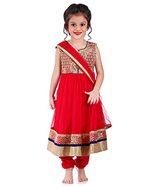 Babyhug Sleeveless Kurti Churidar With Dupatta Floral Embroidery - Pink