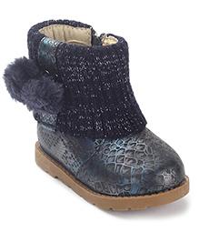 Doink Fur Balls Ankle Length Boots Zip Closure - Navy