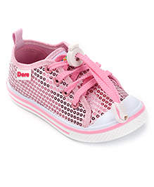Dora Casual Canvas Shoes Sequin Work - Pink