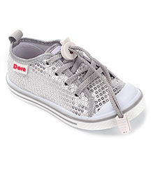Dora Casual Canvas Shoes Sequin Work - Grey