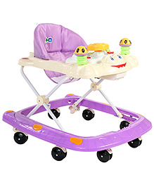 Musical Baby Walker With Cute Froggy Face - Purple & Cream