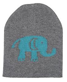 Pluchi Baby Elephant Knitted Cap - Heather Grey & Blue