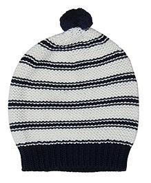 Pluchi Lola Knitted Cap - Navy Blue & Ivory
