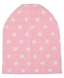 Pluchi Dottie Knitted Cap - Pink & Natural