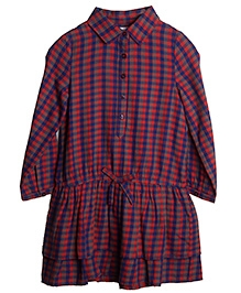 My Lil Berry Check Shirt Style Dress - Red Blue
