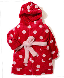 Pumpkin Patch Full Sleeves Hooded Night Gown Polka Dot - Pinkish Red