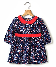 Beebay Peterpan Collar Printed Corduroy Dress - Navy