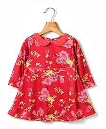 Beebay Floral Printed Collar Dress - Red