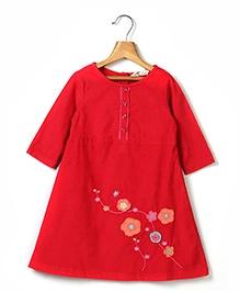 Beebay Crochet Flower Embroidery Corduroy Dress - Red